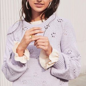 // Madewell floral pointelle pullover sweater //